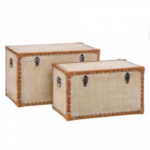Set 2 cutii cu capac crem din MDF si piele ecologica Baulle Ixia
