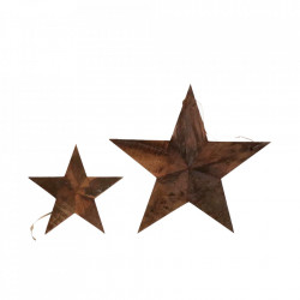 Set 2 decoratiuni maro din lemn reciclat pentru perete 30x30 cm Star Raw Materials