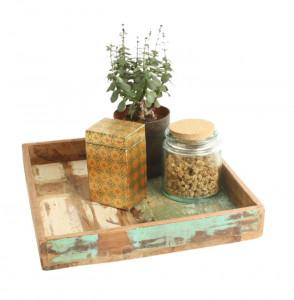 Tava multicolora din lemn reciclat 30x30 cm Matilda Raw Materials