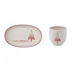 Set ceasca si farfurioara alba/rosie din ceramica Lucia Bloomingville