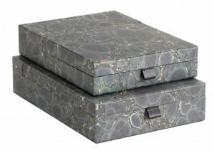 Set 2 cutii verzi din carton si poliuretan Green Mosaic Document Nordal