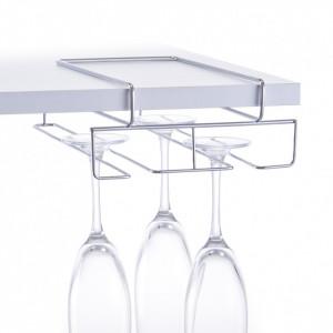 Suport argintiu din metal pentru pahare Shelf Glass Holder Zeller