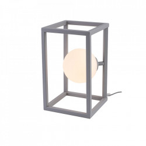 Veioza gri/alba din metal si sticla 33 cm Cube Lamp Grey Aldex