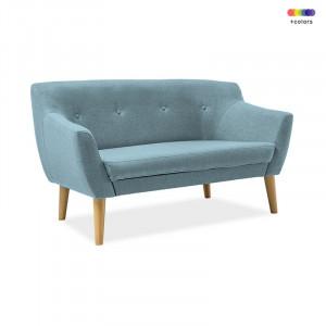 Canapea albastra din textil si lemn 139 cm Bergen Cablo Signal Meble