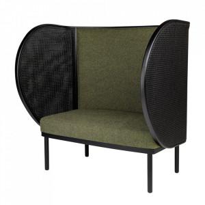 Canapea verde/neagra din PAN si lemn 120 cm Shelter Loveseat Versmissen