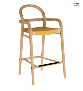 Scaun bar galben/maro din lemn de eucalipt si sfoara Sheryl La Forma