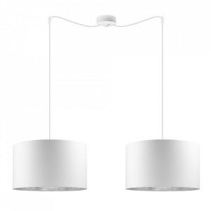 Lustra alba/argintie din bumbac si otel cu 2 becuri Mika White Pendant Big Double Sotto Luce