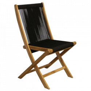 Scaun dining maro/negru din lemn de tec si sfoara Vivalto Raw Materials