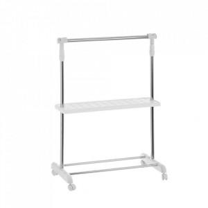 Suport argintiu/alb din metal si plastic pentru umerase Adjustable Hanger Unimasa