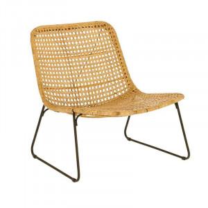 Scaun lounge maro din ratan si metal Leandra La Forma