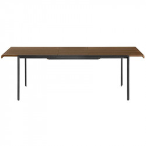 Masa dining extensibila maro/neagra din lemn si metal pentru exterior 80x(120)160 cm Nadyria La Forma