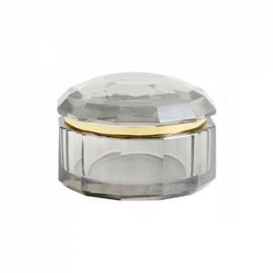 Cutie cu capac gri fum din sticla pentru bijuterii Crysta Nordal