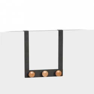 Cuier negru/maro din metal si lemn pentru usa Nina Zeller