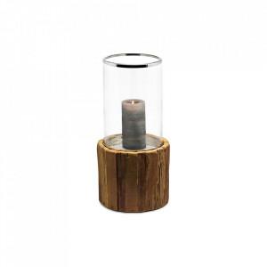 Suport maro/argintiu din lemn de tec si sticla pentru lumanare 53 cm Greyburn Edzard