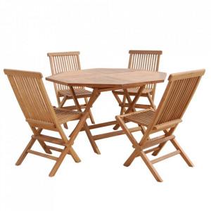 Set 4 scaune si masa dining din lemn de tec pentru exterior Tibalt Santiago Pons