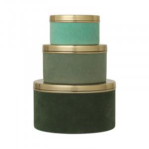 Set 3 cutii cu capac multicolore din metal si catifea Victoria Thyme Cozy Living Copenhagen