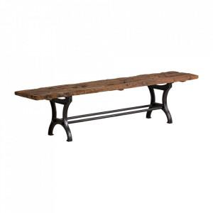 Bancheta maro/neagra din lemn si fier 198 cm Malmo Vical Home