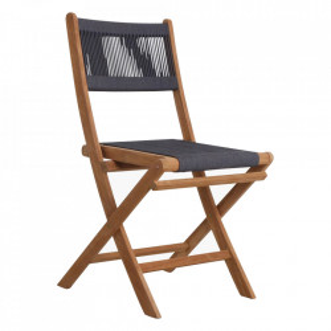Scaun dining gri antracit/maro din lemn de tec si sfoara pentru exterior Vivalto Raw Materials