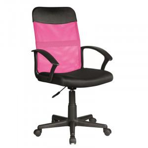 Scaun birou roz/negru ajustabil din textil si plastic Obaka Signal Meble