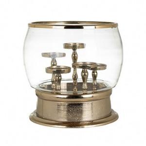 Suport auriu/transparent din aluminiu si sticla pentru lumanari 33 cm Cleave Richmond Interiors