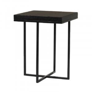 Masuta neagra din placaj si fier pentru cafea 40x40 cm Burlington Lifestyle Home Collection