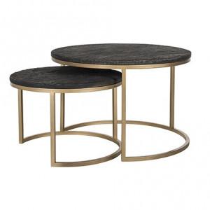 Set 2 masute negre/aurii din rasina si fier pentru cafea Belfort Richmond Interiors