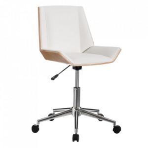Scaun birou alb/maro din poliuretan si lemn de nuc Yolla Ixia