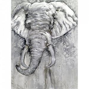 Tablou multicolor din canvas si lemn 90x120 cm Elephant Ter Halle