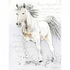 Tablou multicolor din canvas si lemn 90x120 cm Horse Ter Halle