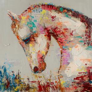 Tablou multicolor din canvas si lemn 90x90 cm Hoss Ter Halle