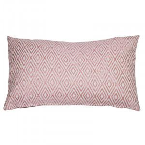 Perna decorativa dreptunghiulara rosie din bumbac si poliester 30x50 cm America Santiago Pons