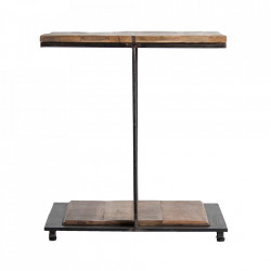 Masuta maro/neagra din fier si lemn 55x55 cm Gaffney Vical Home