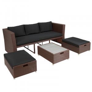 Set canapea cu 2 tabureti si masuta maro din ratan si aluminiu pentru exterior Lido Santiago Pons