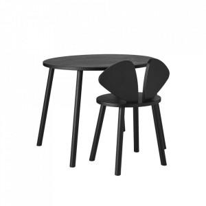 Set masa si scaun negre din lemn Mouse School Nofred