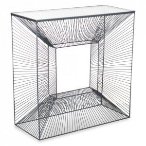 Consola transparenta/neagra din sticla si metal 80 cm Brow Opjet Paris