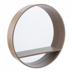 Oglinda rotunda maro din fier cu raft 60 cm Matilda Ixia