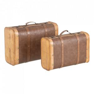 Set 2 cutii tip valiza maro din lemn si poliuretan Fabio Ixia