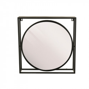 Oglinda rotunda neagra din metal cu raft 44x44 cm Alcott Lifestyle Home Collection