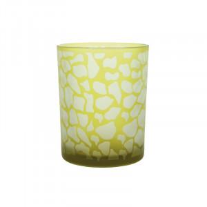 Suport galben din sticla pentru lumanare 13 cm Jafari Lifestyle Home Collection