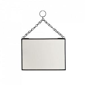 Oglinda dreptunghiulara neagra din fier si sticla 13x18 cm Mlima Madam Stoltz
