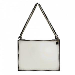 Oglinda suspendabila neagra din fier si sticla 15x20 cm Tassel Madam Stoltz