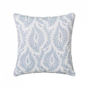 Perna decorativa patrata albastra/alba din poliester 45x45 cm Cindy Unimasa