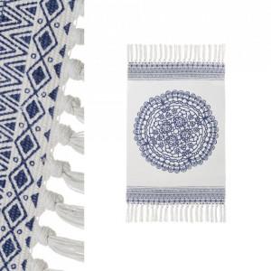 Covor albastru/alb din bumbac si poliester 60x90 cm Dean Unimasa