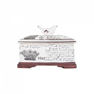 Cutie cu capac alba/maro din ceramica Queen Vical Home
