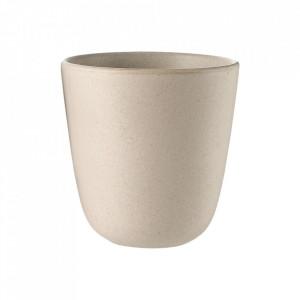 Set 2 cani bej nisipiu din ceramica 9x9,3 cm Edge Bolia