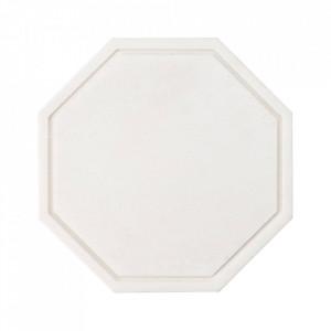 Tocator octagonal alb din marmura 25x25 cm Wonder Bolia