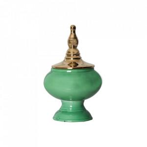 Recipient cu capac verde/auriu din ceramica 19x32 cm Rassy Vical Home