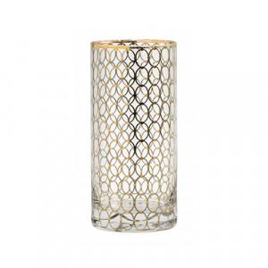 Pahar transparent/auriu din sticla 7x15 cm Circle Nordal