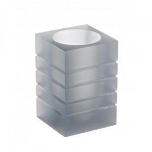 Suport gri din polirasina pentru periuta dinti 6,7x9,8 cm Cube Bizzotto