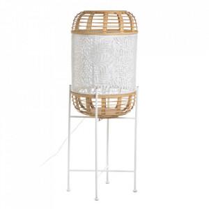 Lampadar alb/crem din ratan si fier 91,5 cm Jijiy Ixia